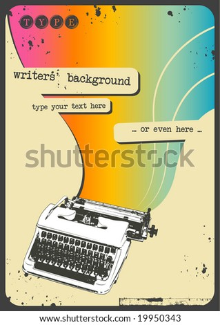 sixties writing background with vintage typewriter and rainbow flow - stock vector
