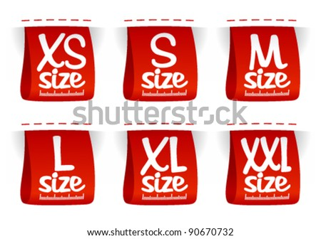Size clothing labels set. - stock vector