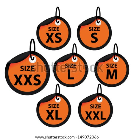Size clothing orange labels. Vector. - stock vector