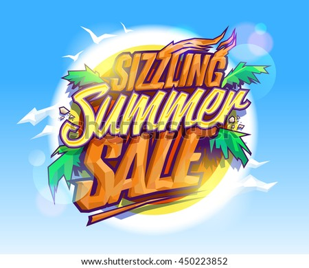 Sizzling summer sale, hot tropical design concept, sun, palms leaves and sky - stock vector