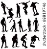 Skate board black silhouettes vector collection on white background. - stock photo