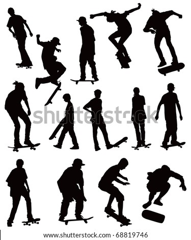 Skate board black silhouettes vector collection on white background.