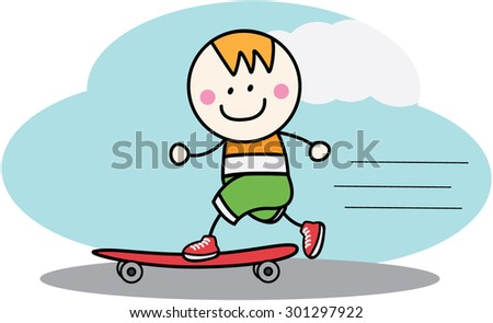 Skate board boy - stock vector