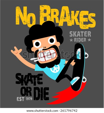 Skate board sport cartoon typography, t-shirt graphics, vectors - stock vector