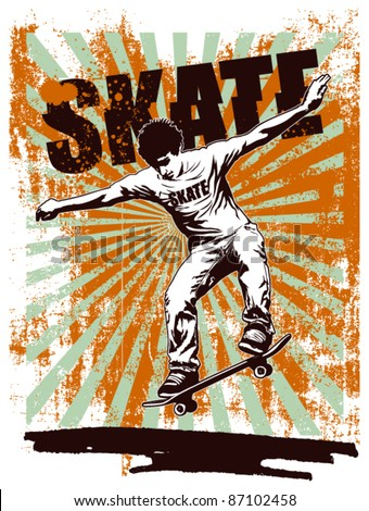 skate grunge poster with acrobat rider - stock vector