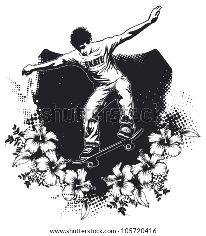 skate grunge shield with rider jumping and hibiscus - stock vector