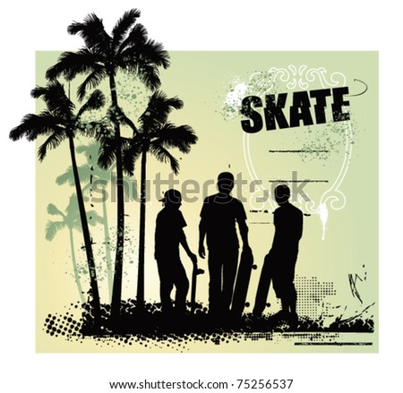 skate scene with three boys with tables - stock vector