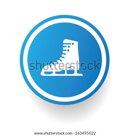 Skate symbol,Blue button,vector - stock vector