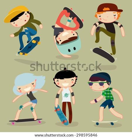 skateboard characters set. stylish kids. vector illustration - stock vector