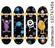 skateboard design set of four with funny aliens and monsters - stock