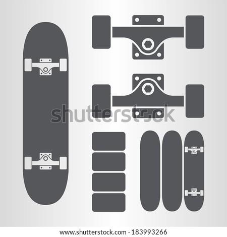 Skateboard, fingerboard icon - stock vector