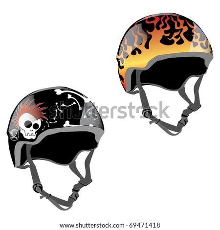 skateboard helmet design with fire and skull with mohawk and bones - stock vector