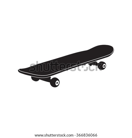 Skateboard icon. Simple black vector symbol. Logo for web. Image for business.