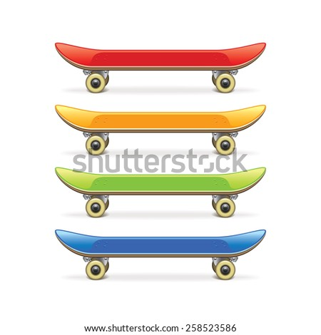 Skateboard set isolated on white photo-realistic vector illustration - stock vector
