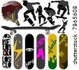 skateboard vector 3 - stock vector