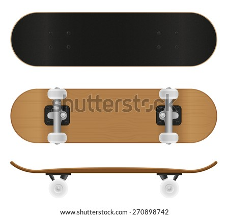 skateboard vector illustration isolated on white background - stock vector