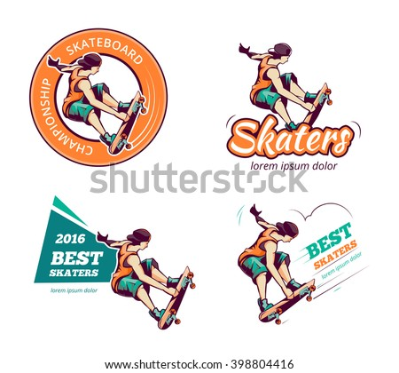 Skateboard vintage color logo set. Label skateboard, badge skateboard, emblem or logo skateboard. Vector illustration - stock vector