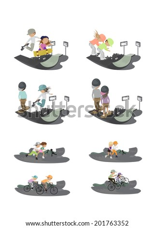 Skateboarder, Cyclist And Roller Skating People In Skate Park - Isolated On White Background - Vector Illustration, Graphic Design Editable For Your Design    - stock vector