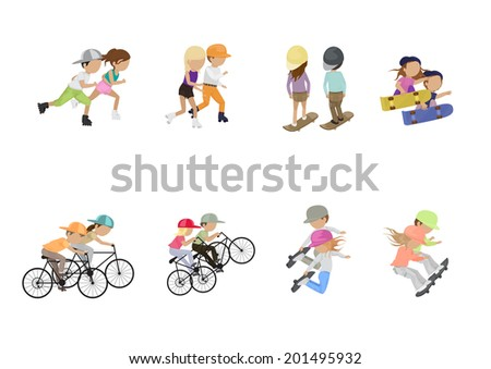 Skateboarder, Cyclist And Roller Skating People - Isolated On White Background - Vector Illustration, Graphic Design Editable For Your Design  - stock vector