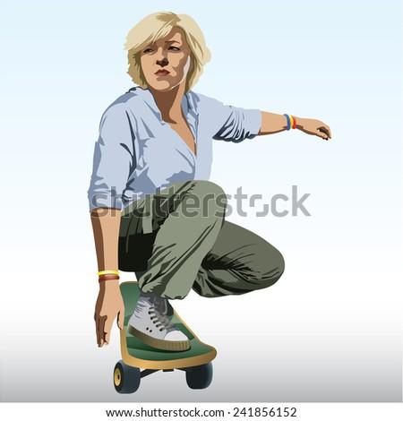 Skateboarder Girl skateboarding. Vector. - stock vector