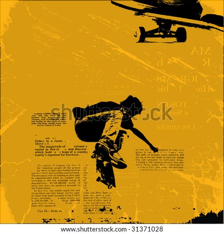 skateboarder grunge vector illustration