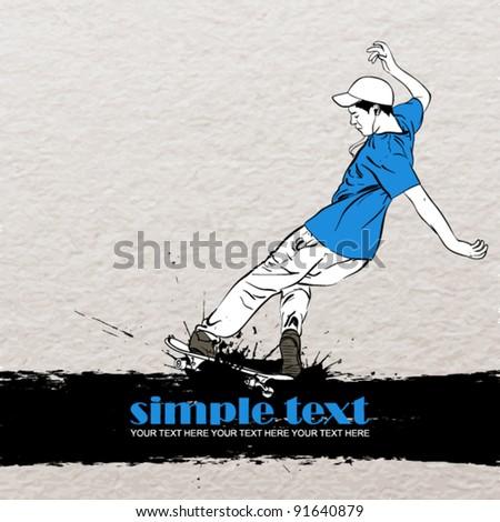 Skateboarder in action on a grunge-background. Vector illustration. - stock vector