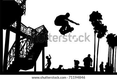 Skateboarder Leap With Spiral Stairs Silhouette Vector 06 - stock vector