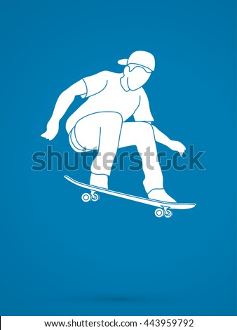 Skateboarders jumping graphic vector.