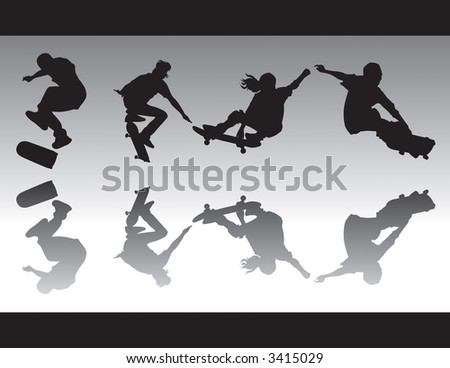 Skateboarding silhouttes doing various tricks. One is kickflipping, ollie'ing and two are grabbing. - stock vector