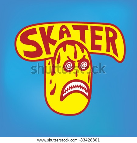 Skateboarding Sticker - Vector Illustration - stock vector