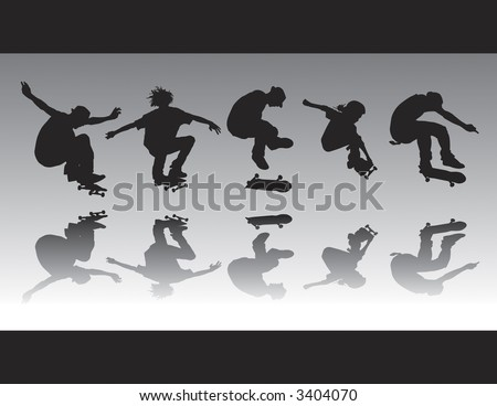 Skater air silhouettes that can be ungrouped and resized to one's desire. - stock vector