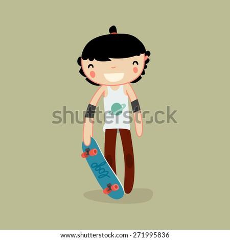 skater boy. skateboard character. vector illustration - stock vector