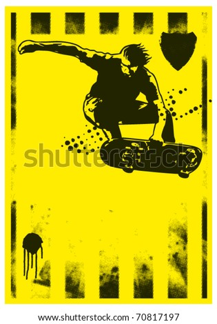 skater grunge poster with acrobatic jump - stock vector