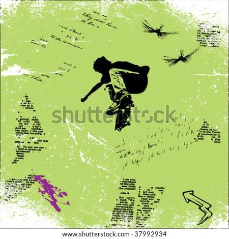 skater grunge vector background - stock vector