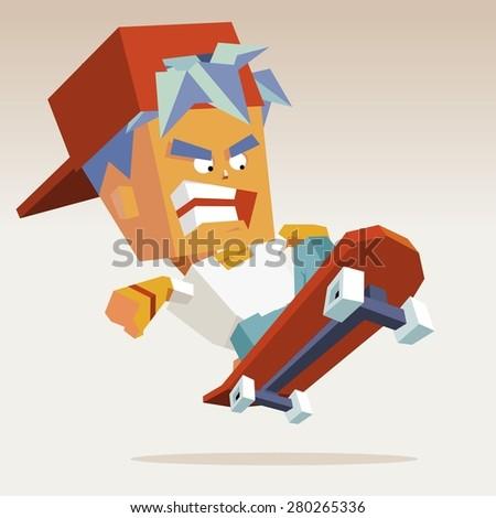 skater hat action.vector illustration - stock vector