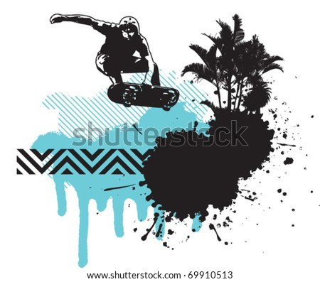 skater jump with grunge summer background - stock vector