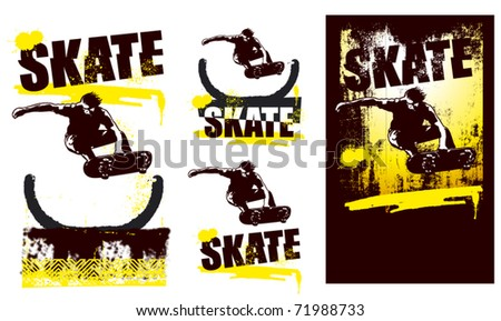 skater jumping with incline route - stock vector