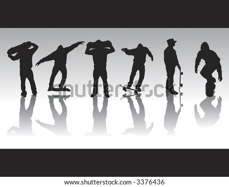 Skater silhouettes that can be ungrouped and resized to ones desire. Various skater poses with board in hand as well as a 5-0 grind and darkside boardslide silhouette. - stock vector