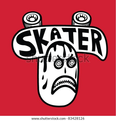 Skater Sticker - Vector Illustration