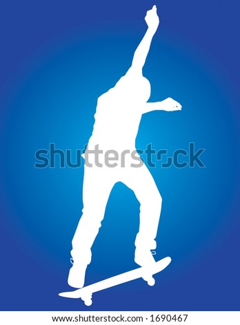 Skater vector silhouette nollie backside 180 with some style. - stock vector