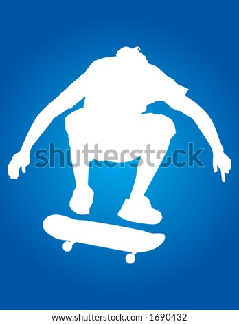 Skater vector silhouette ollie'ing over a trash can. - stock vector
