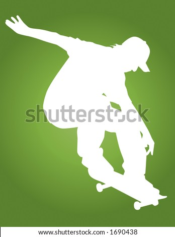Skater vector silhouette ollie'ing showing some style. - stock vector
