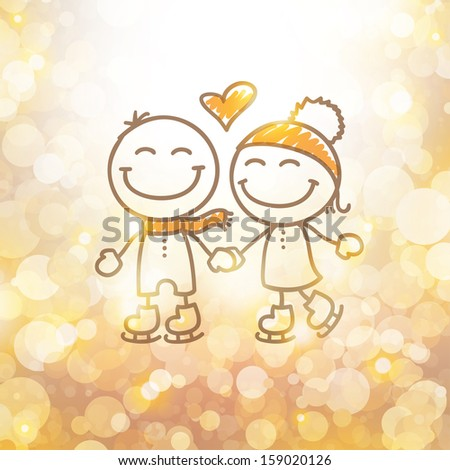 skaters couple hand drawn illustration - stock vector