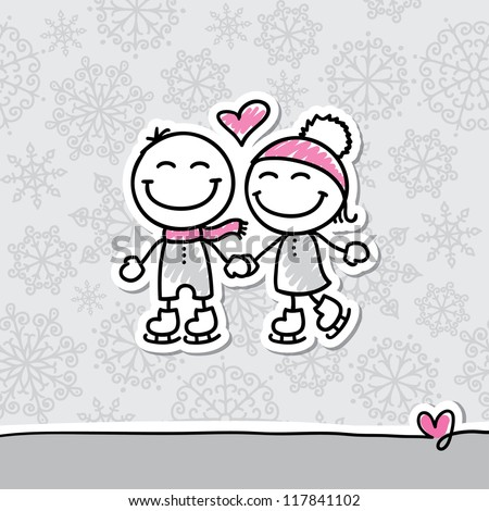 skaters couple on gray background, hand drawn illustration - stock vector