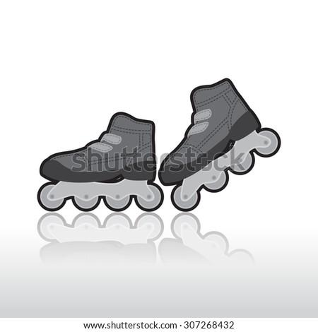 skates, isolated illustration - stock vector