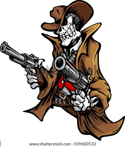 Skeleton Cowboy  with skull and Hat Aiming Guns - stock vector