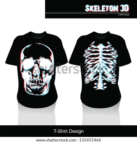 Skeleton 3D T shirt - stock vector