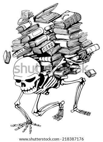 Skeleton holding pile of books vector, vertical,  isolated  - stock vector