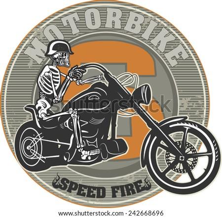 Skeleton & Motorbike - stock vector