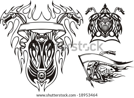 Skeleton with a flag in an arm and two gasoline tanks.  Tribal bikes. Vector illustration ready for vinyl cutting. - stock vector